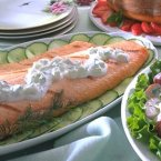 Salmon with Cucumber-Sour Cream Sauce